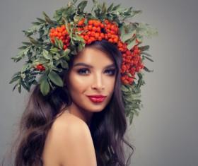 Girl wearing wild berry wreath Stock Photo 04