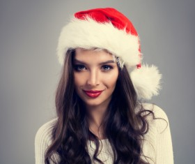 Girl with christmas hat Stock Photo 04