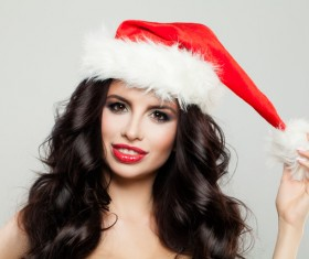 Girl with christmas hat Stock Photo 08