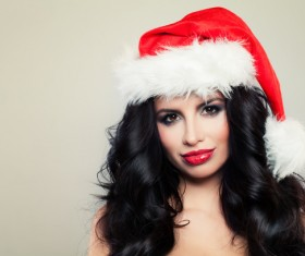 Girl with christmas hat Stock Photo 09