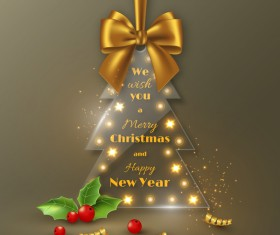 Glass christmas tree with golden bow vector 01