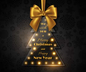 Glass christmas tree with golden bow vector 02