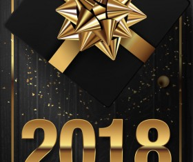 Golden 2018 yew year card with black wooden background vector 04