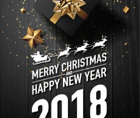 Golden 2018 yew year card with black wooden background vector 05