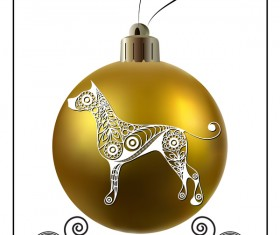 Golden christmas ball with new year dog frame vector 01