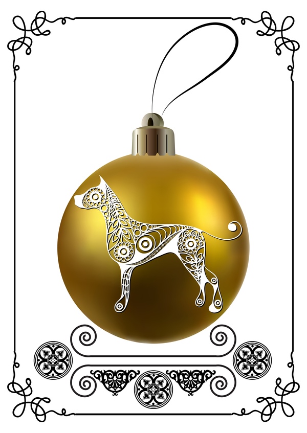 golden christmas ball with new year dog frame vector 01 - Dog Frame