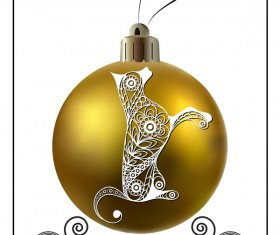 Golden christmas ball with new year dog frame vector 02