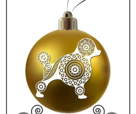 Golden christmas ball with new year dog frame vector 04