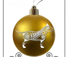 Golden christmas ball with new year dog frame vector 05