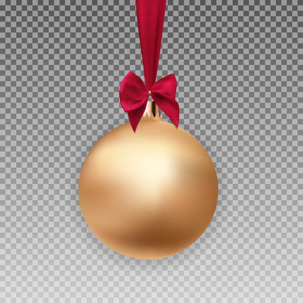 Golden christmas ball with red bow illustration vector