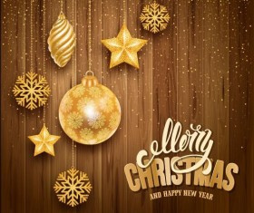 Golden christmas baubles with wooden background vector
