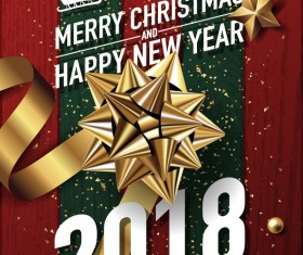 Golden christmas decor with 2018 new year background vector