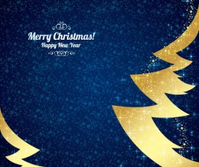 Golden christmas tree with blue new year background vector