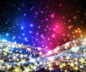 Golden stars light background with abstract vectors