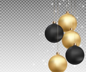 Golden with black xmas baubles illustration vector