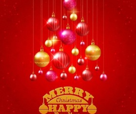 Golden with red christmas balls and red background vector