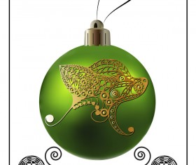 Green christmas ball with new year dog frame vector 02