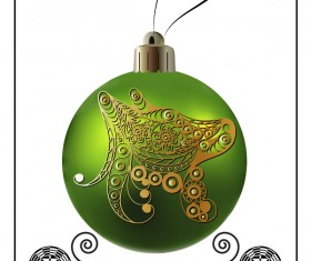 Green christmas ball with new year dog frame vector 03