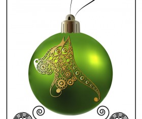 Green christmas ball with new year dog frame vector 04