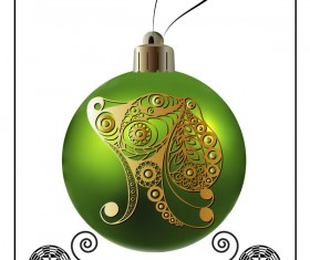 Green christmas ball with new year dog frame vector 05