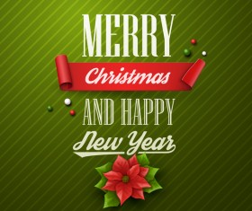 Green merry christmas with happy new year card vector