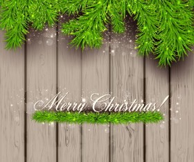 Green pine needles with christmas background vector