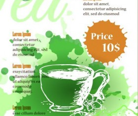Green tea poster template with watercolor vector 02