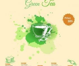 Green tea watercolor background template vector