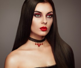 Halloween Vampire Woman makeup Stock Photo 01