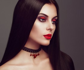 Halloween Vampire Woman makeup Stock Photo 02