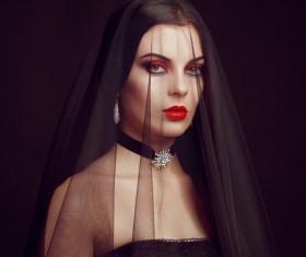 Halloween Vampire Woman makeup Stock Photo 03
