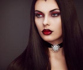 Halloween Vampire Woman makeup Stock Photo 04