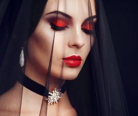 Halloween Vampire Woman makeup Stock Photo 05