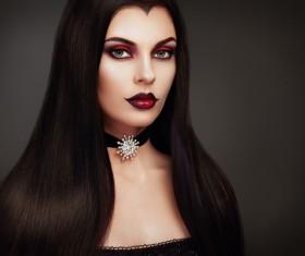Halloween Vampire Woman makeup Stock Photo 06