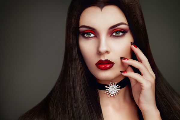 Halloween Vampire Woman makeup Stock Photo 07 free download