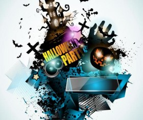 Halloween party flyer template design vector 01