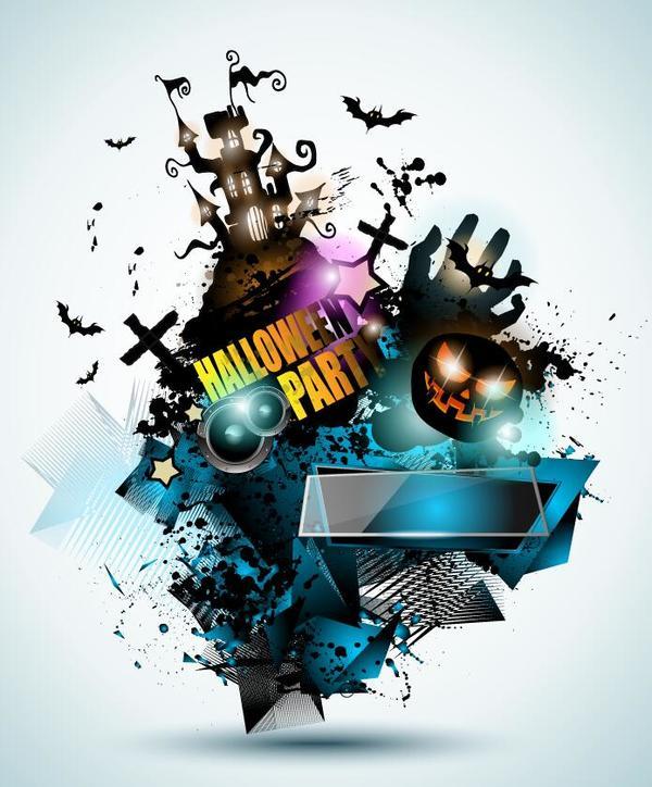 Halloween party flyer template design vector 01
