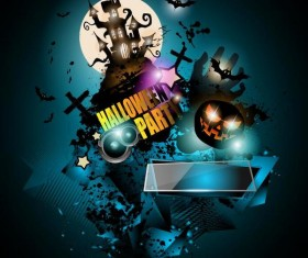 Halloween party flyer template design vector 02