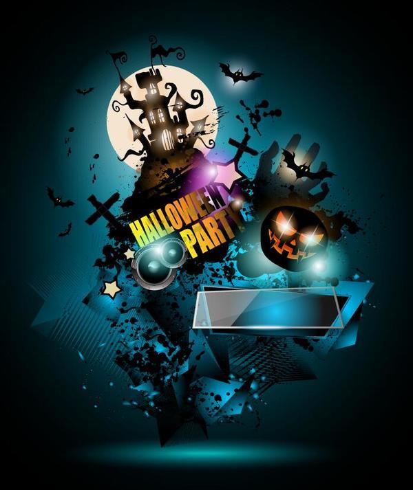Halloween party flyer template design vector 02