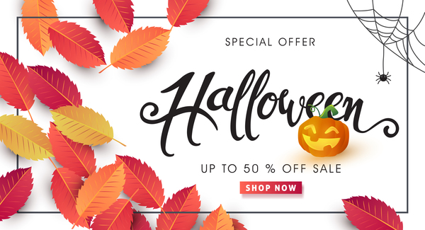Halloween special offer white background vector