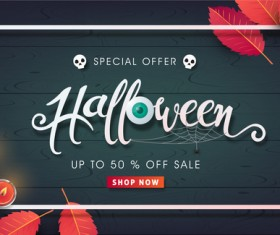 Halloween special offer with wooden background vector