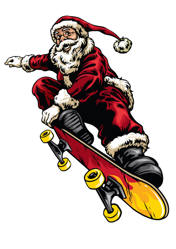 Hand drawing style of santa riding skateboard vector