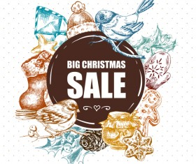 Hand drawn christmas big sale design elements vector 01