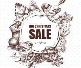 Hand drawn christmas big sale design elements vector 02