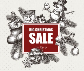 Hand drawn christmas big sale design elements vector 03