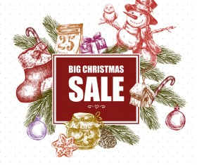Hand drawn christmas big sale design elements vector 04