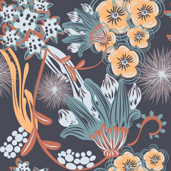 Hand drawn flower decoration ornament vector seamless pattern 01