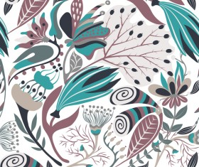Hand drawn flower decoration ornament vector seamless pattern 05