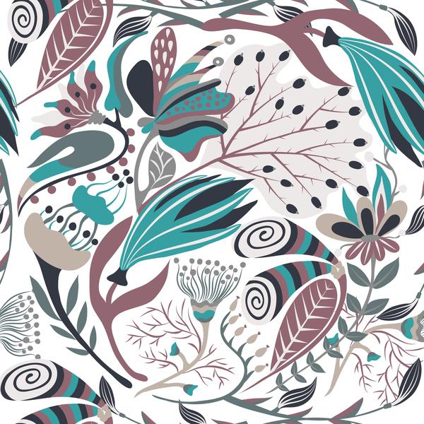 Hand drawn flower decoration ornament vector seamless pattern 05