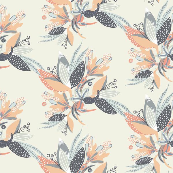 Hand drawn flower decoration ornament vector seamless pattern 06